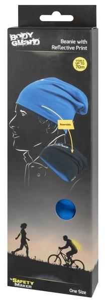 Wende Beanie, Mütze, Sportmütze reflektierend blau-silber